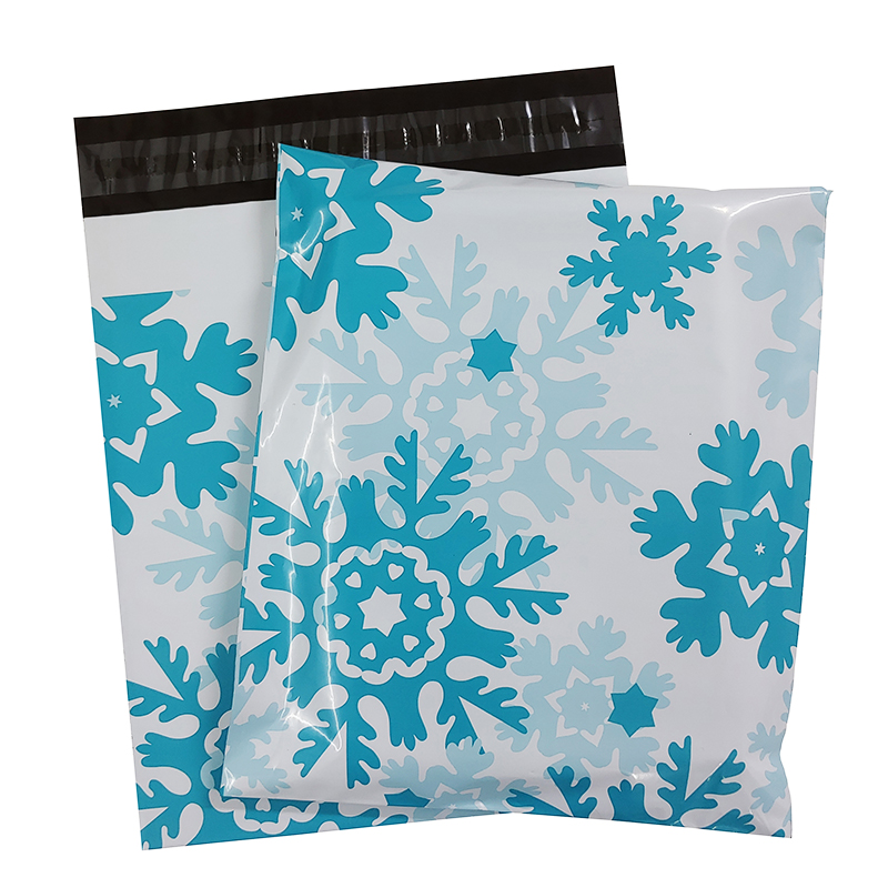 100PCS Poly Mailer 9.8x11.6inch/25x29.5cm Winter Snowflakes Blue Gift Bags Holiday Shipping Bags Self Sealing Mailing Envelopes