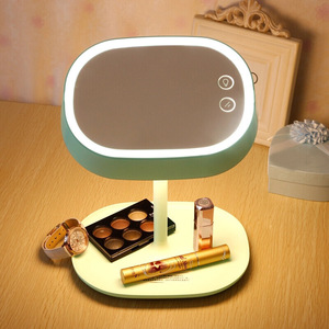 Image 5 - Rechargeable Touch Screen Lighted Makeup Mirror LED Bedside Lamp Table Stand Cosmetic Mirror Night Light