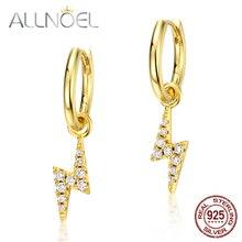 ALLNOEL Solid 925 Sterling Silver Drop Earrings For Women Zircon Diamond Gemstone Gold Plated Lightning Bolt Ray Fine Jewelry