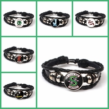 HOT! New Arrival Riverdale Leather Bracelet Jewelry Glass Dome Rotating Black Mens Gift Fans Souvenir DIY