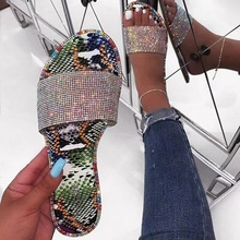 2019 Fashion Women Sandals Snake Print Bling RhineStone Slip-on Shallow Flat