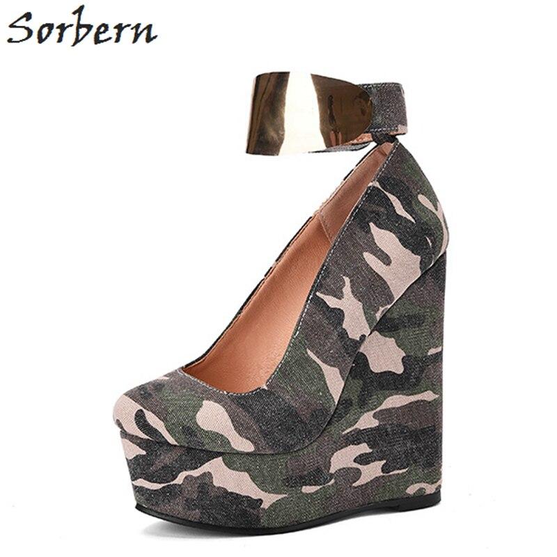 Sorbern Green Camouflage Women Shoes Wedge High Heel Ankle Strap Platform Shoe Women Heels Canvas Small Size High Heels