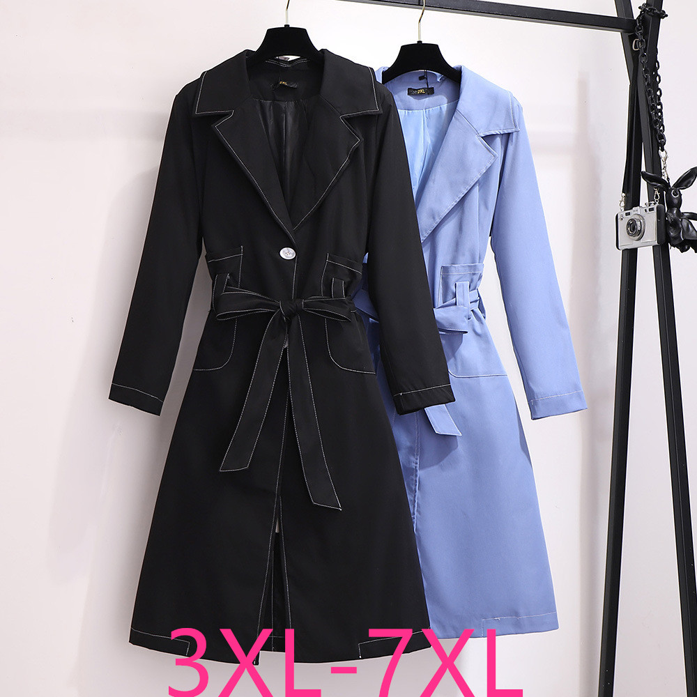 2019 Autumn Winter Plus Size Coat For Women Large Casual Loose Dust Long Coats Trench With Belt Black Blue 3XL 4XL 5XL 6XL 7XL
