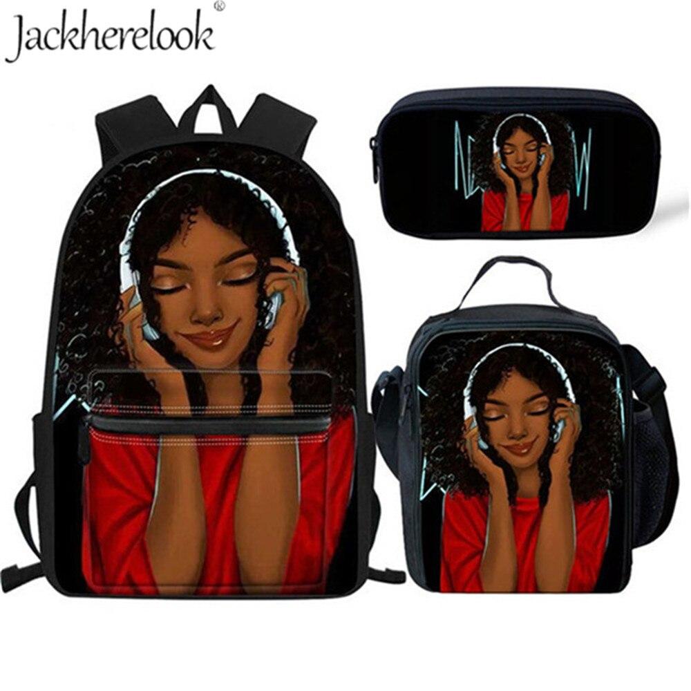 Jackherelook Kindergarten School Bags Set African American Cute Black Girl Print Women Backpack School Bookbag Student For Girls