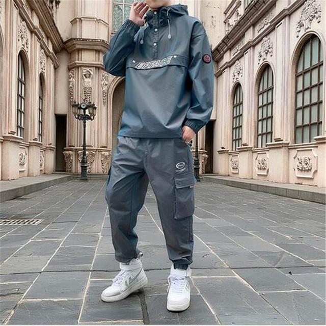 2021 Workwear jacket men's Hooded Jacket+Pants 2PC Sets  baseball  loose Pullover coat & Long Pants Mens Clothing 6