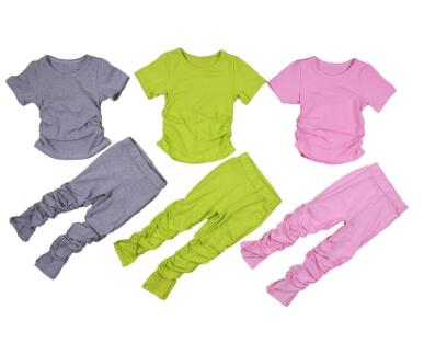 Kids Set Open Back Hooded Puff Sleeve Tops Stacked Slit Pants Suit Active Wear Tracksuit Two Piece Set Fitness Outfit girls 1