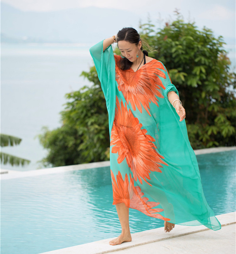 New Style On Shi Tong Clothing Set Sunflower Chest Pad Chiffon Large Size Beach Couples Spinning Sun Shirt Zhejiang