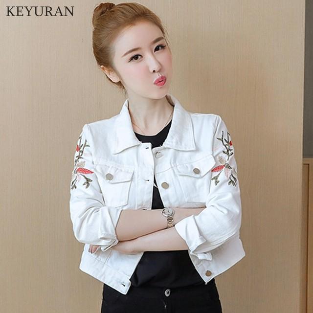 Korean Slim White Red Denim Jacket Women Embroidered Long Sleeve Coat Female Spring Cropped Jean Jackets Plus Size Manteau Femme 4