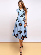 Baogarret Summer Fashion Vintage Dress Women Short Sleeve Sexy V-Neck Ruffles Bow Tie Floral Print Elegant Vacation Dress baogarret summer fashion dress women s sexy v neck backless bow tie ruffles floral printed elegant vintage vacation dress