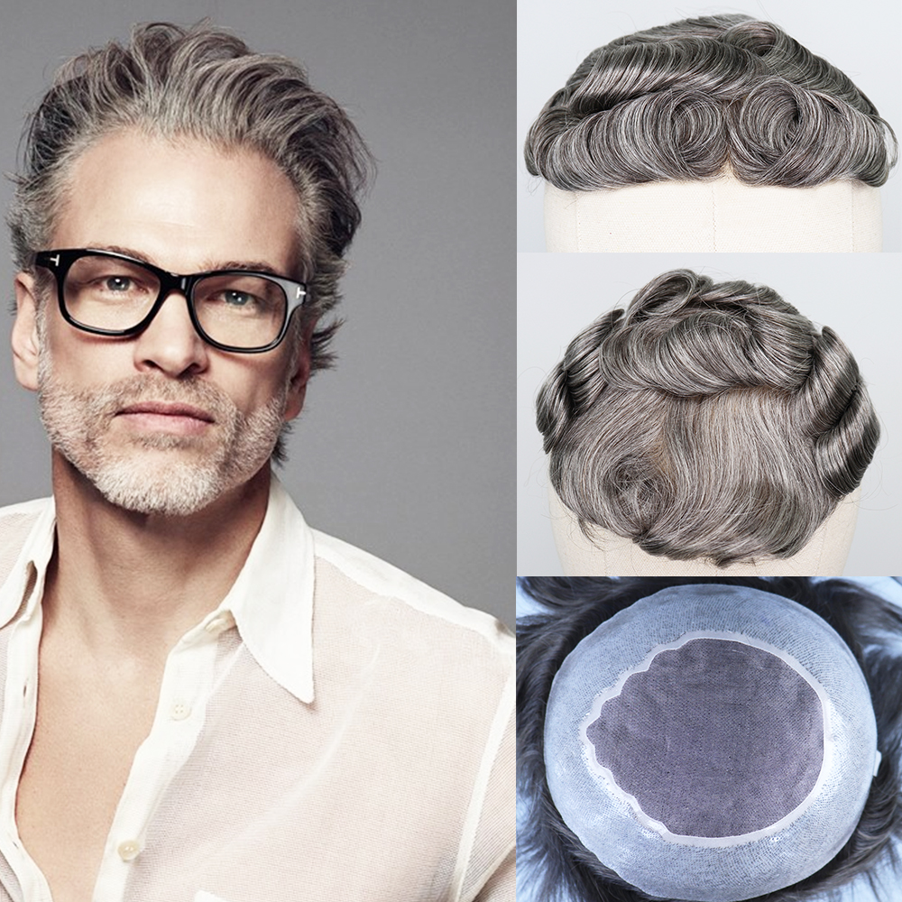 YY Wigs Men's Toupee #3 Brown & 65% Grey Human Hair Toupee For Men 8x10 Mono Net With PU Around Remy Hair Replacement System 6