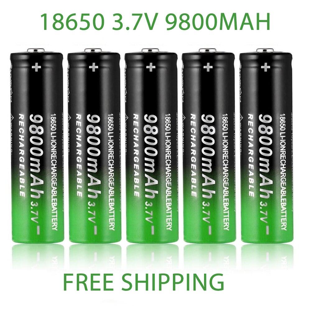 100% Новинка 18650 3,7 в 9800 мАч перезаряжаемая батарея для фонарика, ффонарь, налобного фонаря, литий-ионная аккумуляторная батарея, Прямая постав...
