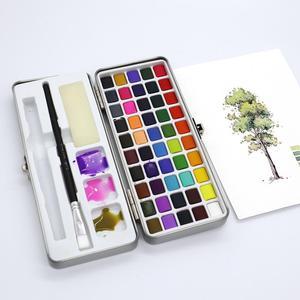 Image 3 - הגעה חדשה 50 צבע שקוף מוצק בצבעי מים נייד צבע בצבעי מים לילדים ציור בצבעי מים נייר ספקי