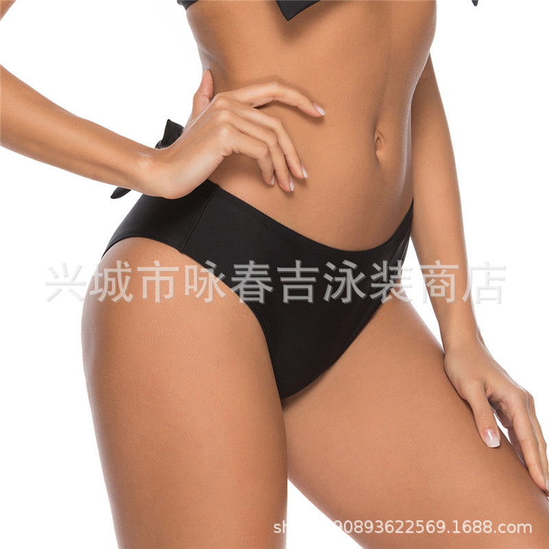 2019 Europe And America Hot Selling Swimwear Double Layer Chinlon Bikini Bow Sexy Low-Rise WOMEN'S Swimming Trunks