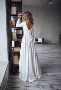 Image 4 - 2019 Bohemian Wedding Dress Long Sleeves High Low Bridal Gowns Backless Elegant Vestido De Noiva Lorie Wedding Gowns For Women