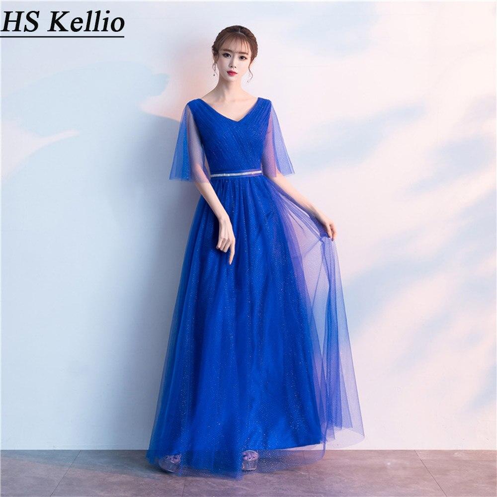 HS Kellio платье подружки невесты королевский синий Vneck для женщин Aline свадебные вечерние длинные платья с рукавами