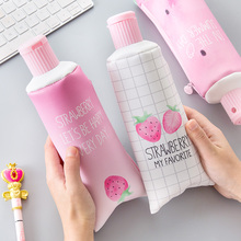 Cute Creative Strawberry series toothpaste shape pencil case with pencil sharpener multi-function pen bag student stationery new strawberry overlay pencil case