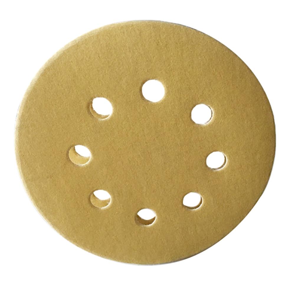 100pcs 5 Inch 8 Holes Round Hook Loop Sanding Discs Aluminium Oxide Orbit Sandpaper Mat 60/80/120/150/240 Grit Durable Grinding