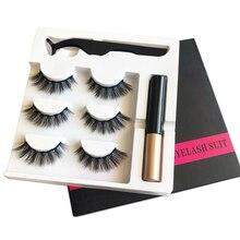 3 Pairs Magnetic False Eyelashes Magnetic Liquid Eyeliner Set 5 Magnets Natural Eyelashes Extension Lasting Magnetic Makeup недорого