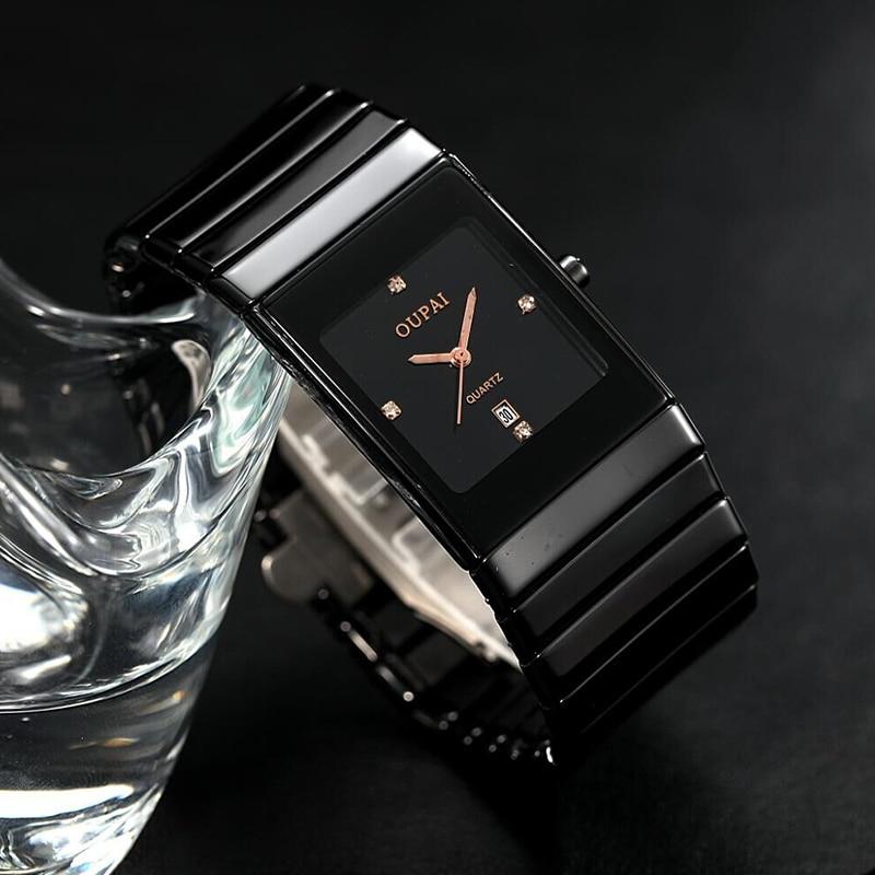OUPAI Old Fashion Black Ceramic Rectangle Watch Men Business Ultra thin Classic Ra80030Do Waterproof Anti scratch Wrist Watch
