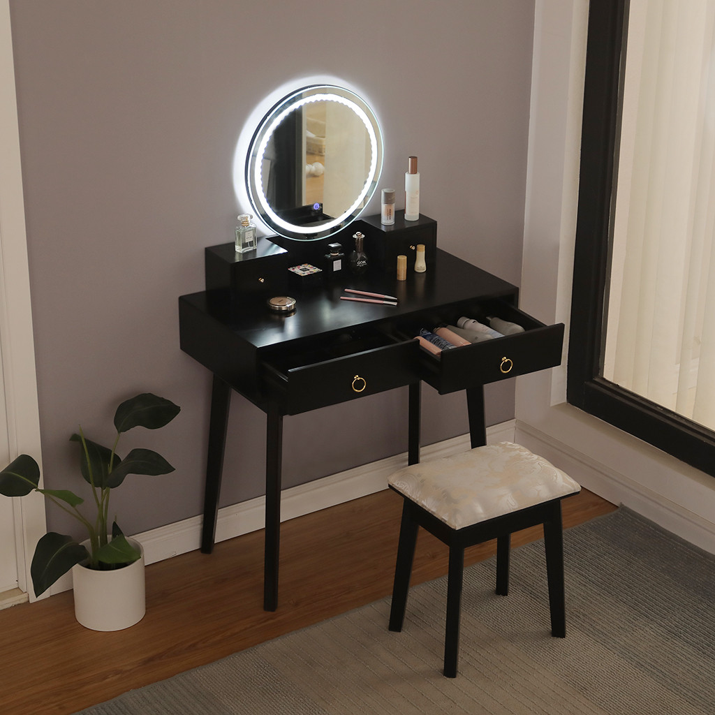 Led Light Round Mirror Wither Sliding Drawers Vanity Table Set Dresser Makeup Dressing Table With Cushioned Stool