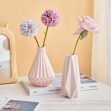 Pleated Vase Modern Creative Design Simple Living Room Vase Small Ornaments Flower Arrangement Home Decoration Ceramics