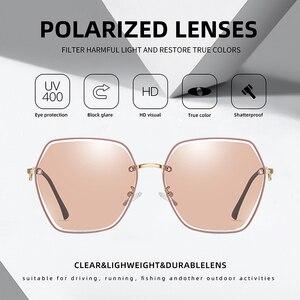 Image 3 - AOFLY BRAND Polarized Sunglasses Women Metal Frame Luxury Female Designer Oversized Square Sunglasses For Ladies Goggle UV400