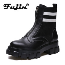 цены Fujin Women Boots Stretch Sock Boots Ankle Platform 2019 New Autumn Shoes Winter Booties Quality Women Winter Shoes Zip Slip On