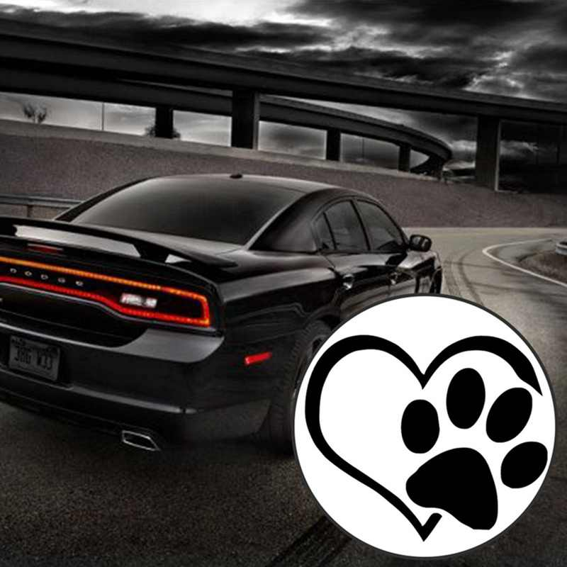 الكلب القط باو طباعة ملصق سيارة جميلة على شكل قلب شاحنة التخييم الدراجات النارية مقاوم للماء ملصق حائط من الفينيل لتصفيف السيارة