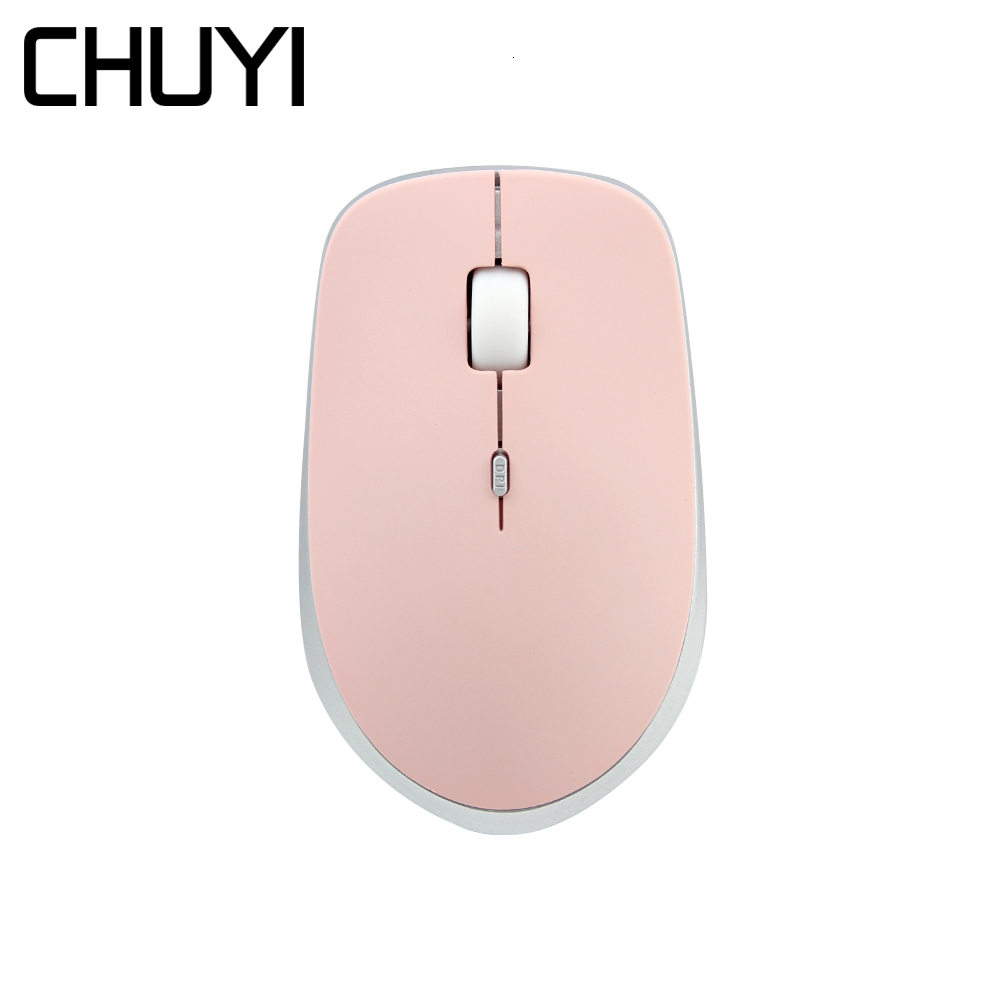 CHUYI 2.4G Silent Wireless Mouse Ultra Thin Computer 3D Office Mice 800/1200/1600 DPI USB Optical Pink Mause For Gift PC Laptop image