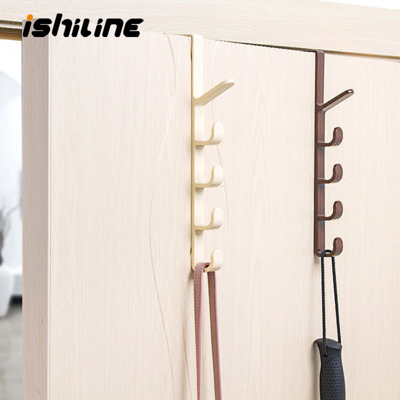 Plastic Home Storage Organization Hooks Rails Bedroom Door Hanger Clothes Hanging Rack Holder Hooks For Bags Towel