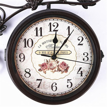Outdoor Pastoral Style Birds Double-sided Wall Clock Iron Art Creative Branch Mute