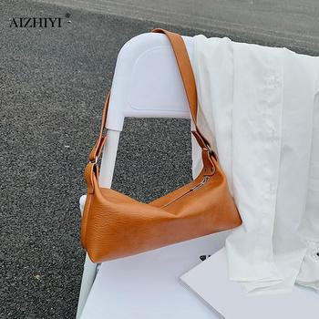 Retro Women Handbag Fashion PU Leather Street Casual Solid Zipper Shoulder Tote Bag Female Elegant Underarm Purse Clutch