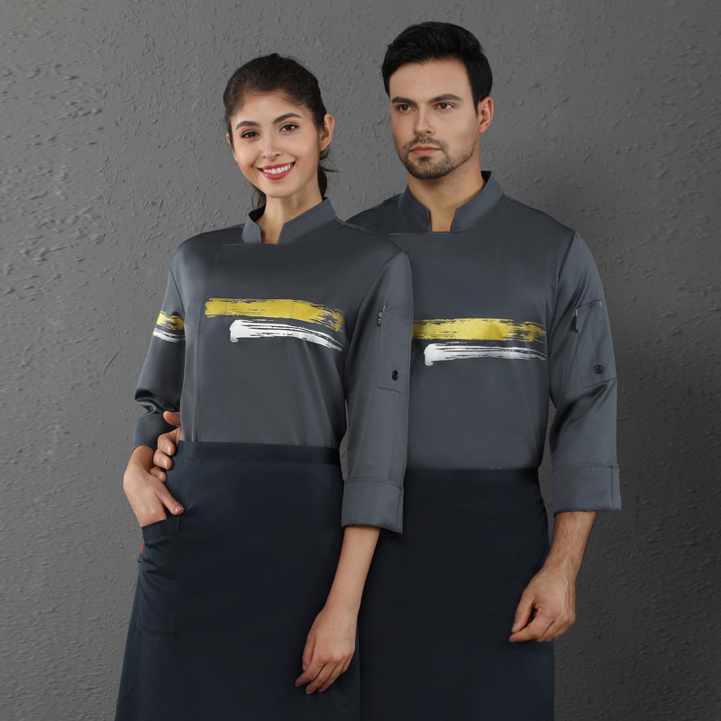 Hotel Restaurant Kitchen Bakes Cake Overalls Unisex Chef Uniform Food Service Cooking Uniform Catering Clothes Long Sleeve Tops