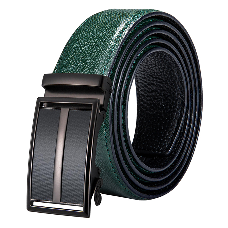 Hi-Tie New Fashion Green Leather Trouser Belts for Men Formal Business Cowhide Genuine Leather Automatic Buckle Belts Brand