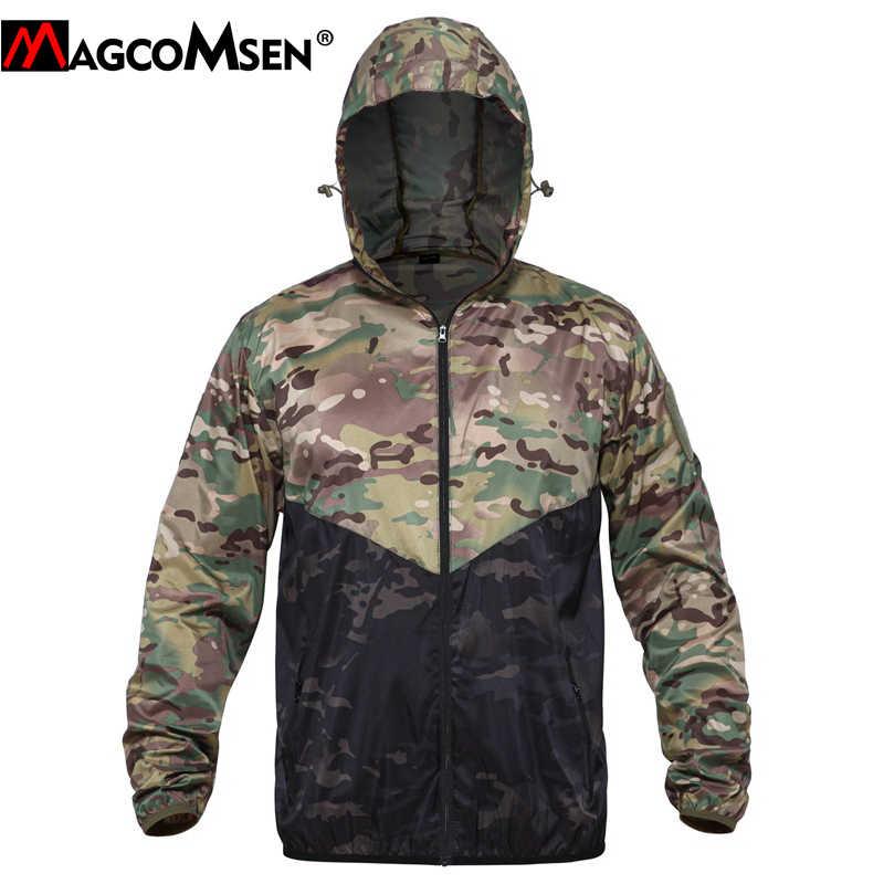 MAGCOMSEN yaz taktik ceketler erkekler kamuflaj ordu savaş deri ceket hafif hızlı kuru askeri yürüyüş balık Airsoft bez
