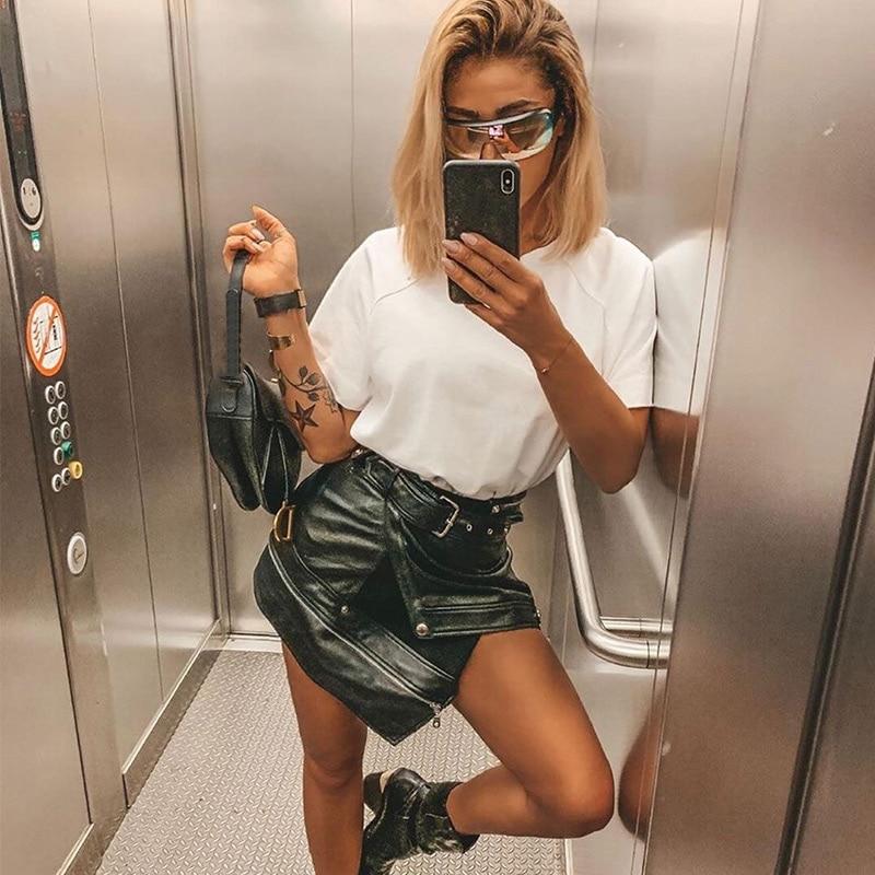 Faux Leather Women Mini Skirt Black PU Belt Zipper Short Bottoms High Waist Female Skirts Spring Autumn Fashion Ladies Clothes