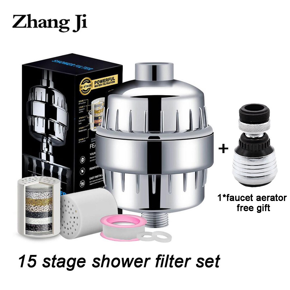 Zhangji 15 Layer Bathroom Shower Filter Multistage Water Purifier Activated Carbon Chlorine Removal Health Showerhead Filter