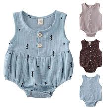 АА милый новорожденный комбинезон младенческой новорожденных девочек мальчиков одежда лето без рукавов боди кнопки детские хлопок белье комбинезон 0-12 м
