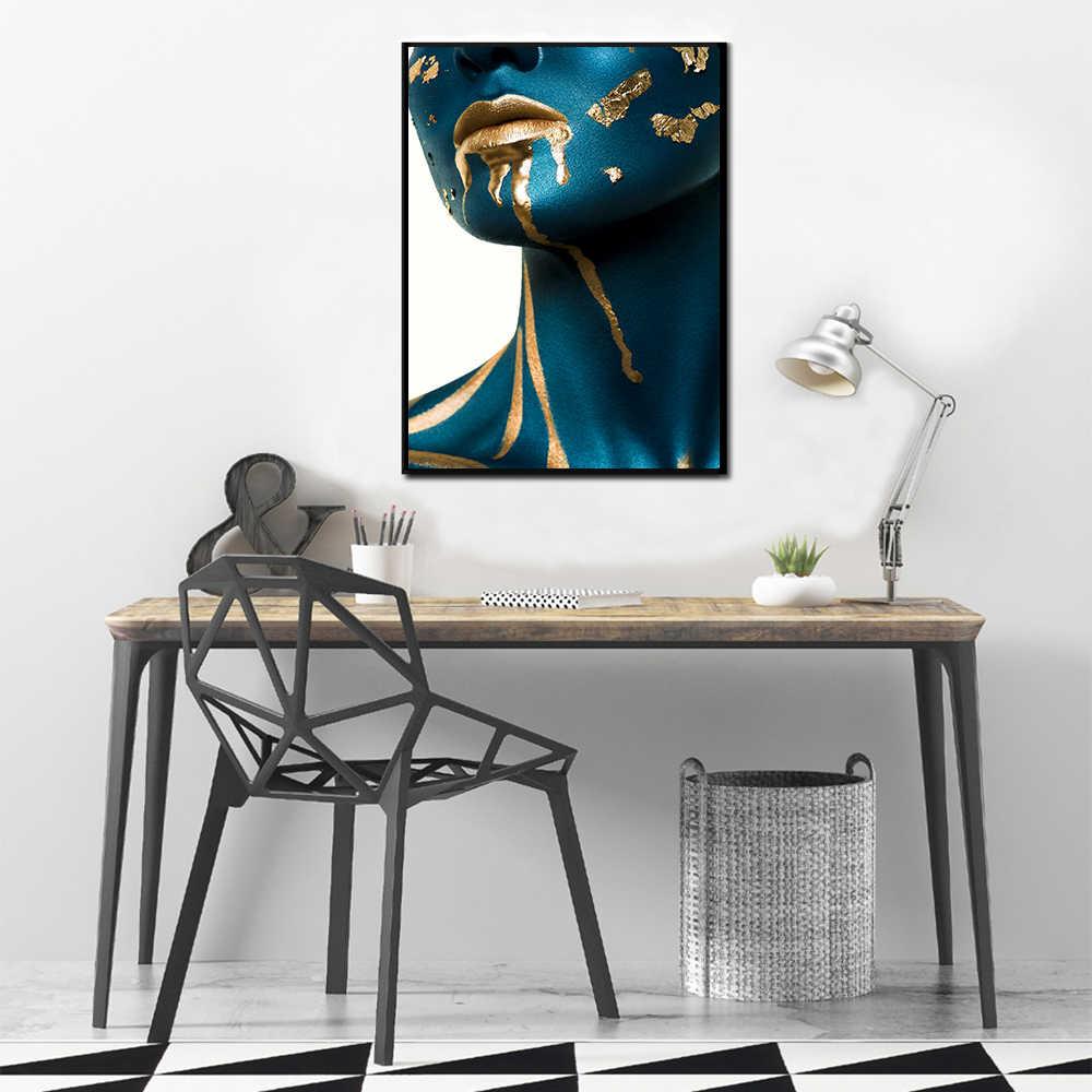 Aahh Poster Chân Dung Nghệ Thuật Treo Tường Canvas Tranh Nghệ Thuật Hình Ảnh Xanh Da Vàng Môi Người Phụ Nữ Mẫu Cho Phòng Khách Trang Trí Nhà