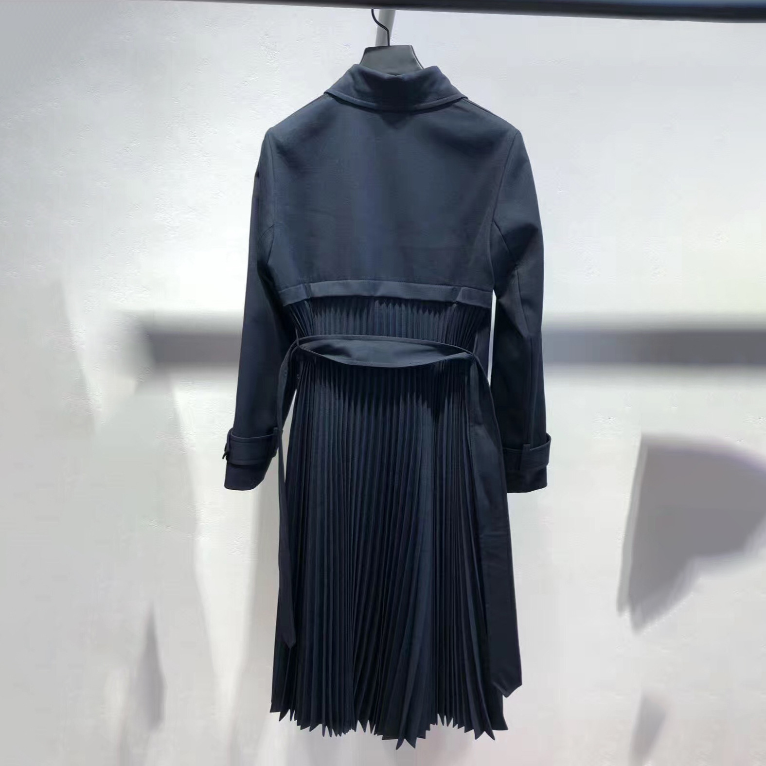 Image 3 - Women Trench 2019 Autumn and Winter New Temperament Pleated Stitching Tie Bow Windbreaker JacketTrench
