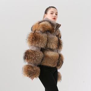 Image 2 - QIUCHEN PJ19017 2020 Winter Jacket Women Parka Real Fur Coat Natural Raccoon Fur winter women Coat Bomber Jacket Streetwear