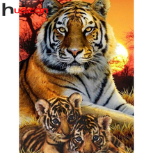 Huacan Full Square Diamond Painting Tiger Art 5D Diamond Embroidery Mosaic Animal Decorations Home