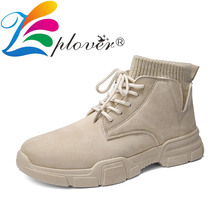2019 New Men Boots Cow Suede Leather Martin Fashion Ankle Shoes Canvas Chaussure Homme
