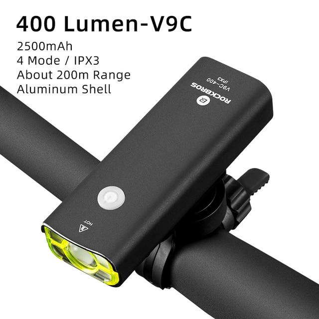 ROCKBROS Cycling Light Bicycle Headlights Waterproof  USB recharge 400 Lumen