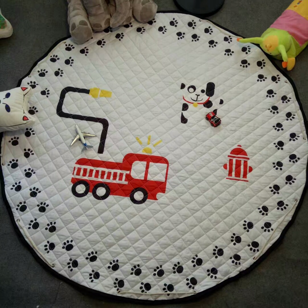 H717ce3f56a324d39b9818f68592d62ef5 Kid Soft Carpet Rugs Cartoon Animals Fox Baby Play Mats Child Crawling Blanket Carpet Toys Storage Bag Kids Room Decoration