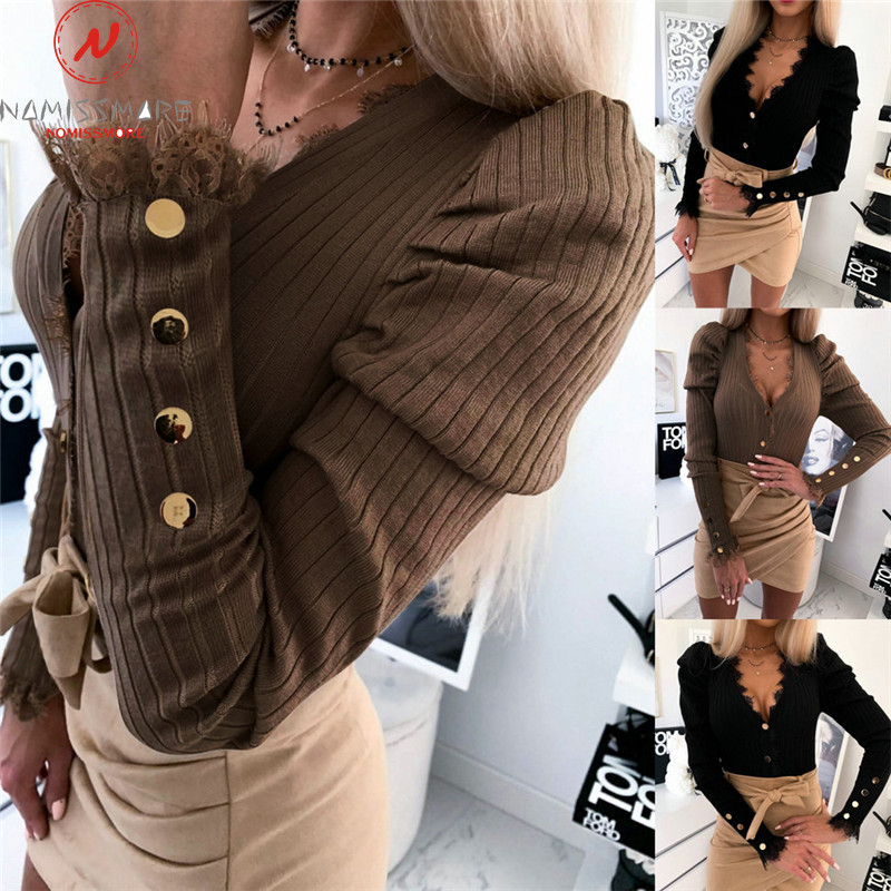 Elegant Women Slim Coat For Streetwear PatchworkDesign Button Lace Decor Deep V Long Sleeve Solid Color Spring Autumn Thin Coat