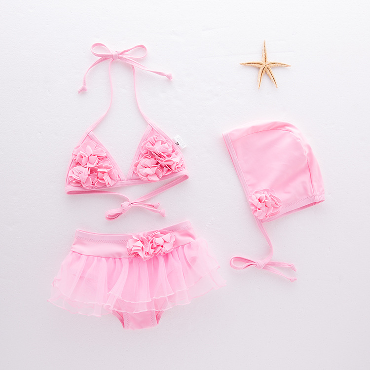 KID'S Swimwear Girls' Two-piece Swimsuit Flower Mesh Skirt Bikini Swimwear Camisole Hot Springs Tour Bathing Suit 3 Pieces