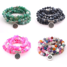 Fashion 108 Beads Weathered Natural Stone Bracelet New Design Women`s or Necklace Jewelry