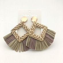 Big  Rattan  Earrings for women Bohemian Handmade Statement Tassel  straw Lafite earrings jewelry john bell travels from st petersburg in russia to diverse parts of asia vol 2