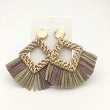Big  Rattan Earrings for women Bohemian Handmade Statement Tassel straw Lafite earrings jewelry